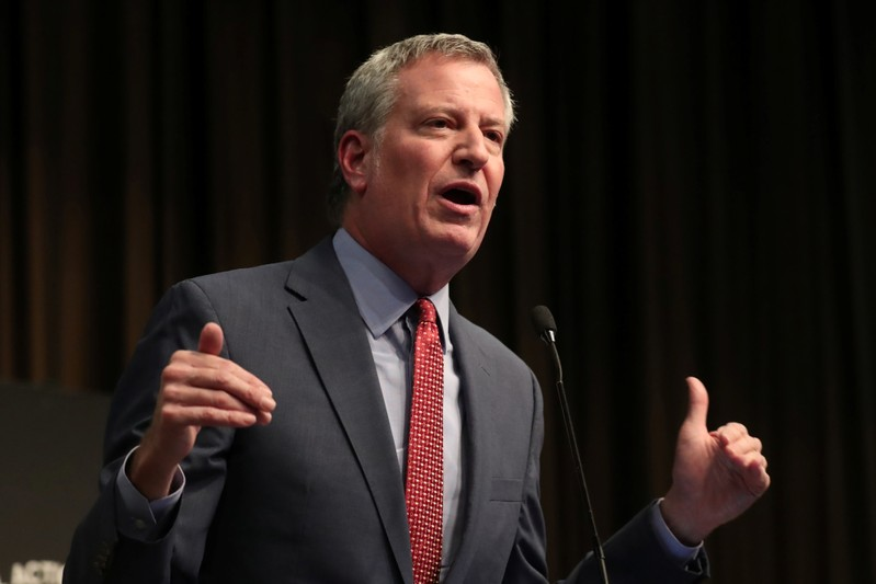 New York City Mayor Bill de Blasio speaks at the 2019 National Action Network National Convention in New York