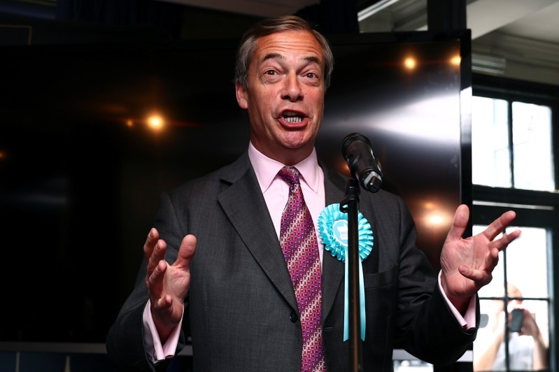 Brexit Party leader Nigel Farage attends a Brexit Party campaign event in Essex