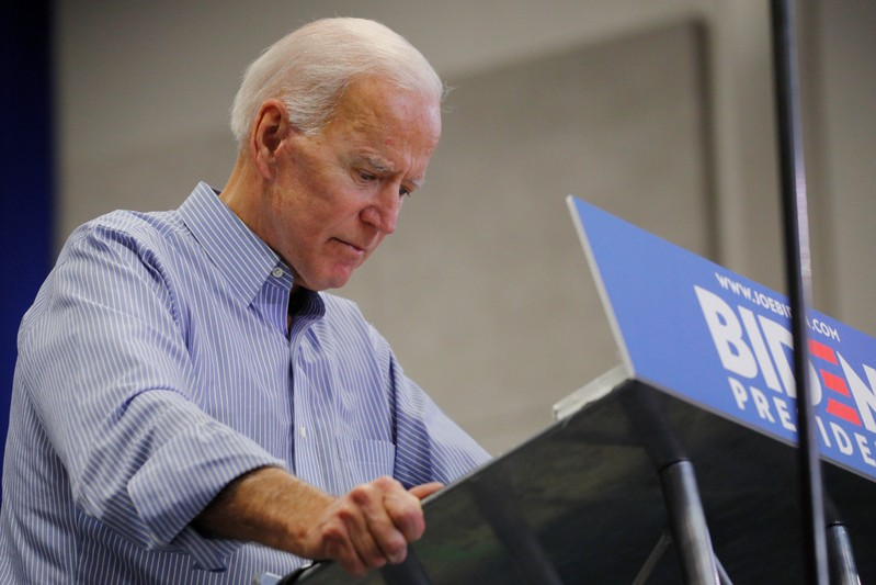 Democratic 2020 U.S. presidential candidate Biden pauses while speaking in Manchester