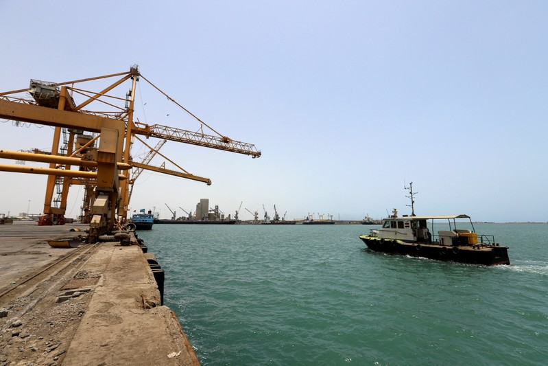 FILE PHOTO: Ship is seen at Hodeidah port in Hodeidah