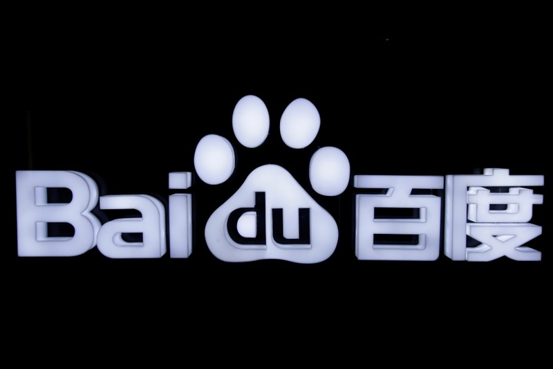 FILE PHOTO: Baidu's logo is pictured at the 2018 Baidu World conference and exhibit in Beijing