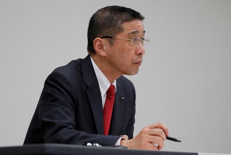FILE PHOTO: Nissan President and CEO Hiroto Saikawa attends a news conference at its global headquarters building in Yokohama