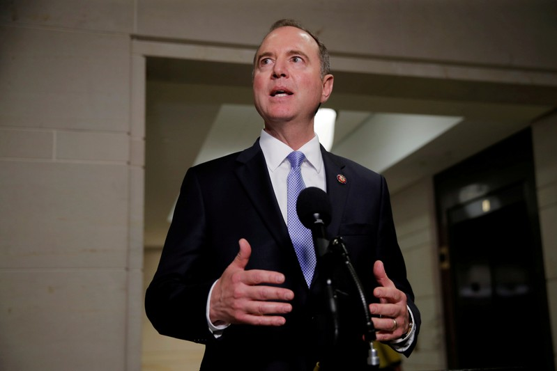 FILE PHOTO: Chairman Schiff departs after House Intelligence Committee hearing on Capitol Hill in Washington