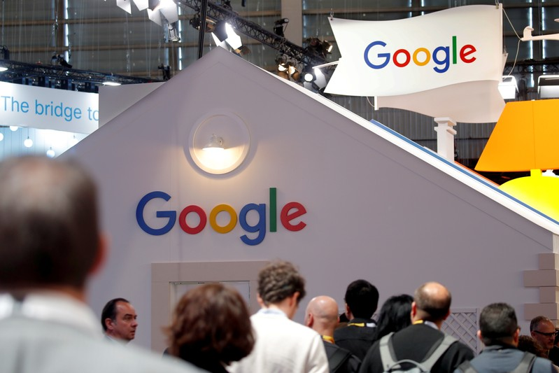 Logo of Google is seen at VivaTech fair in Paris