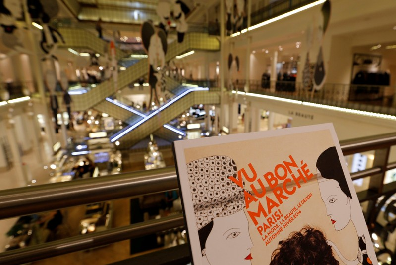 A general view shows the interior of Le bon Marche shopping mall in Paris