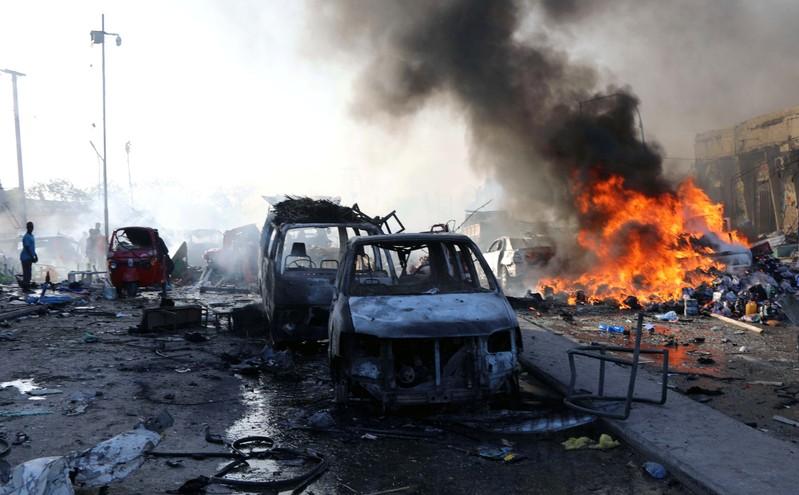 FILE PHOTO: Scene of explosion in the Hodan district of Mogadishu