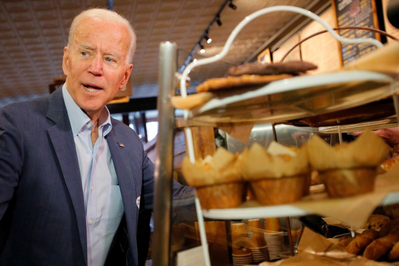 FILE PHOTO: Democratic 2020 U.S. presidential candidate Biden orders coffee and a muffin in Concord