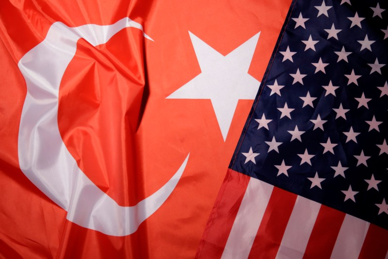 Turkey and U.S. flags are seen in this picture illustration