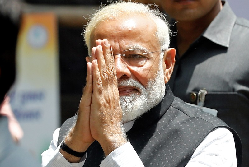 India's Prime Minister Narendra Modi arrives to file his nomination papers for the general elections in Varanasi