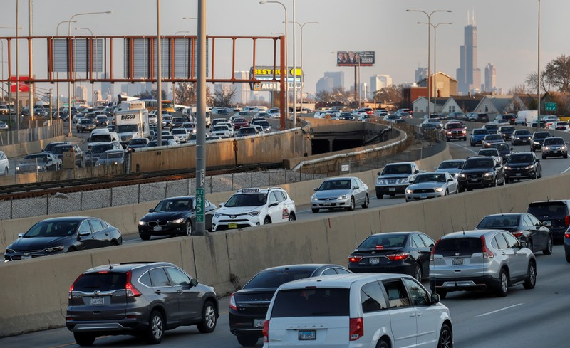 FILE PHOTO: Travelers are stuck in a traffic jam as people hit the road before the busy Thanksgiving Day weekend in Chicago, Illinois