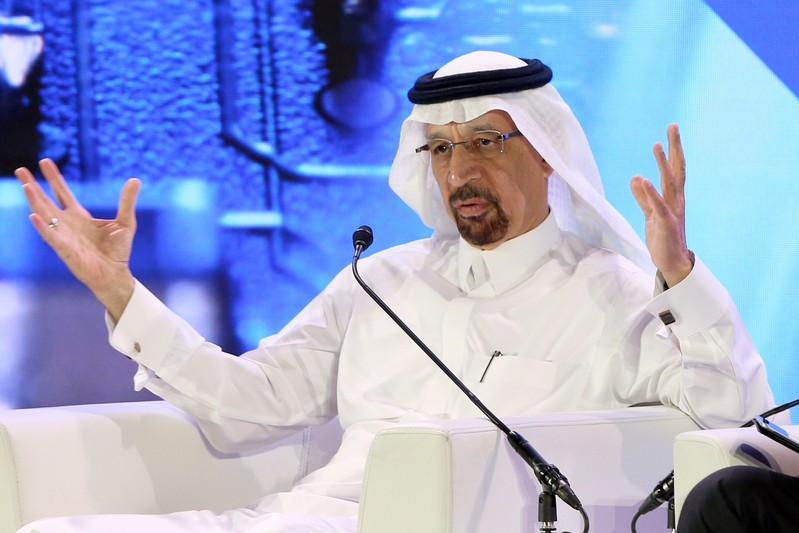 Saudi Minister of Energy Khalid al-Falih speaks during financial sector conference in Riyadh
