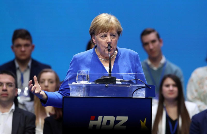 German Chancellor Angela Merkel speaks during the European People's Party (EPP) and the Croatian Democratic Union's (HDZ) campaign rally for the European Parliament elections in Zagreb