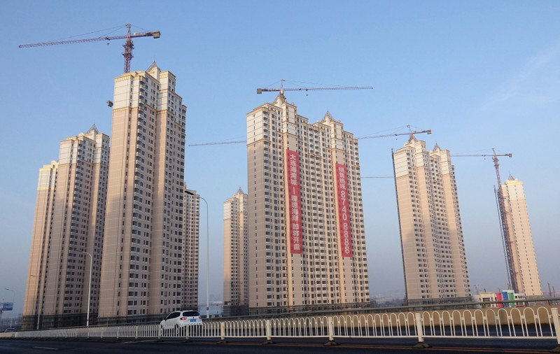 Residential buildings under construction are seen in Jinpu New District in Dalian, Liaoning
