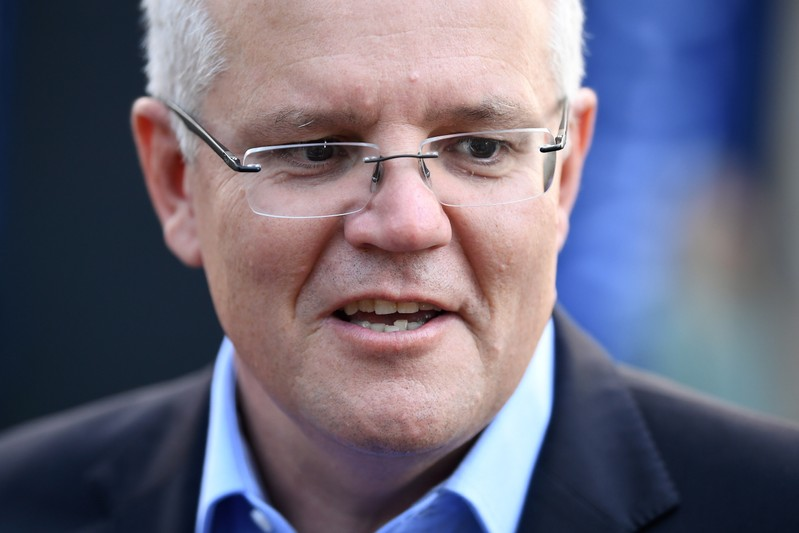 Prime Minister Scott Morrison speaks to the media as he arrives at the Horizon Church in Sutherland in Sydney