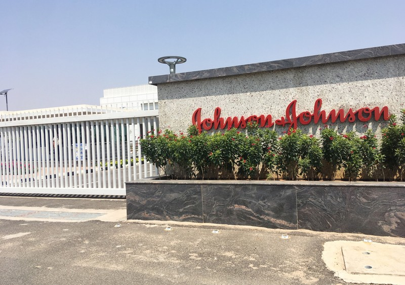 Johnson & Johnson manufacturing plant is pictured in Penjerla on the outskirts of Hyderabad