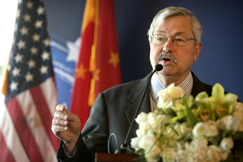 FILE PHOTO: U.S. Ambassador to China Terry Branstad speaks at an event to celebrate the re-introduction of American beef imports to China in Beijing
