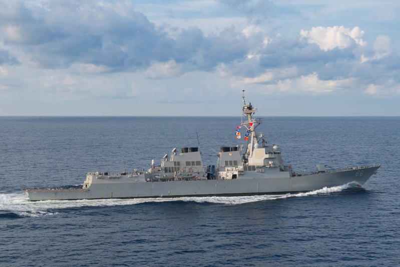 The Arleigh Burke-class guided-missile destroyer USS Preble (DDG 88) transits in the the Indian Ocean