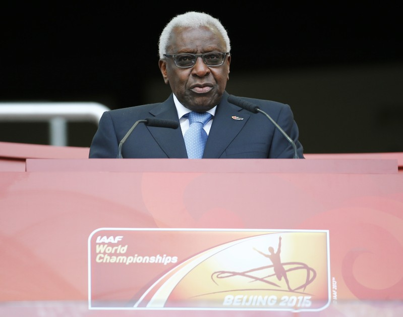 IAAF President Lamine Diack speaks during the opening ceremony of the 15th IAAF World Championships in Beijing