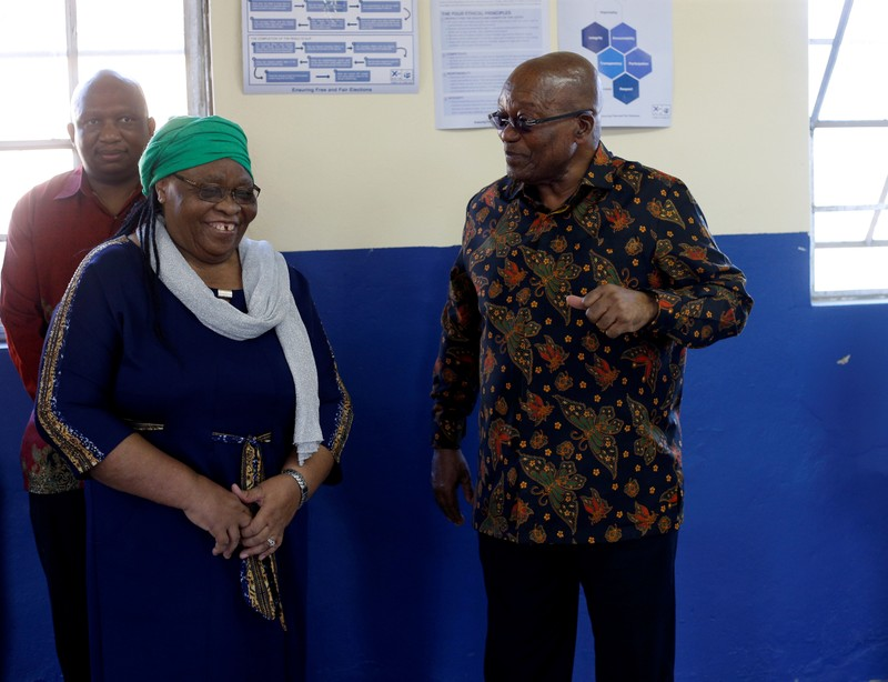 Former South African President Jacob Zuma arrives to cast his ballot in the country's parliamentary and provincial elections, in Nkandla