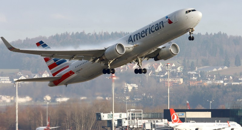 FILE PHOTO: American Airlines Boeing 767 aircraft takes off from Zurich Airport