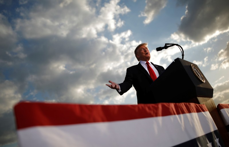 FILE PHOTO - U.S. President Donald Trump addresses a Trump 2020 re-election campaign rally in Montoursville, Pennsylvania