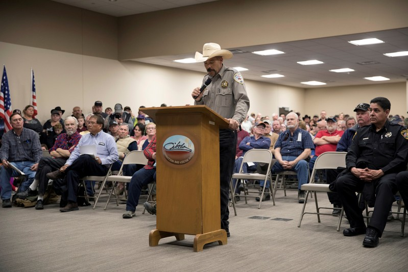 FILE PHOTO: Cibola County Sheriff Tony Mace speaks during the county commission meeting in Grants