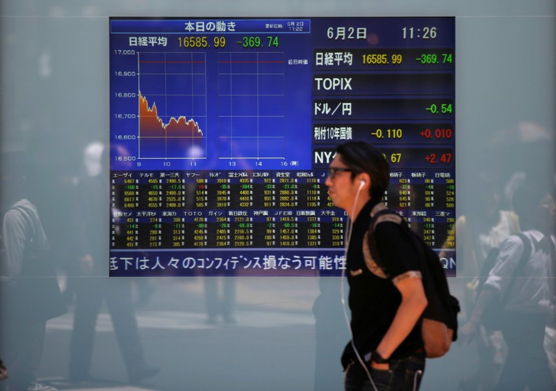 FILE PHOTO: A man walks in front of a screen showing today's movements of Nikkei share average outside a brokerage in Tokyo, Japan