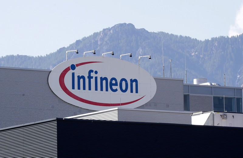 FILE PHOTO: The logo of semiconductor manufacturer Infineon is seen at its Austrian headquarters in Villach