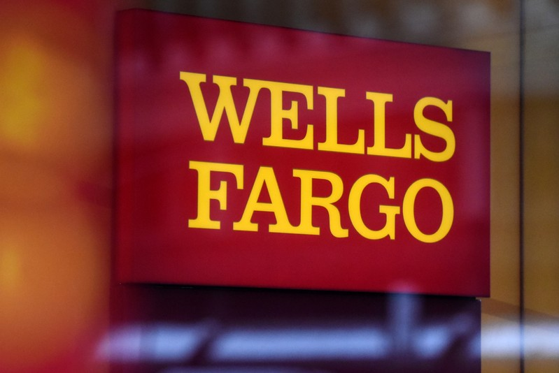 A Wells Fargo logo is seen in New York City