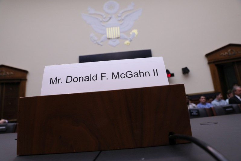 Nameplate of former White Hoouse counsel McGahn is seen at House Judiciary Committee oversight hearing on Special Counsel Mueller report on Capitol Hill in Washington