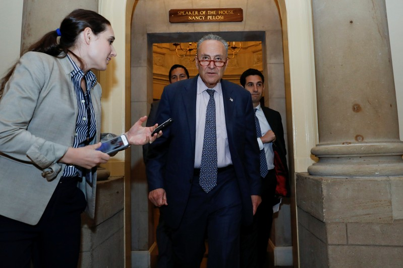 Senate Minorrity Leader Schumer departs following meeting with Congressional leaders and Trump administration officials on Capitol Hill in Washington