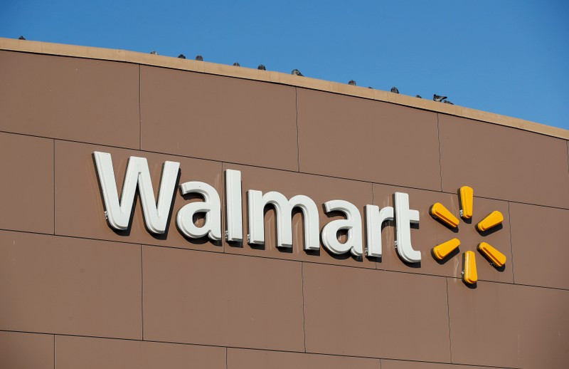 FILE PHOTO: Walmart's logo is seen outside one of the stores in Chicago