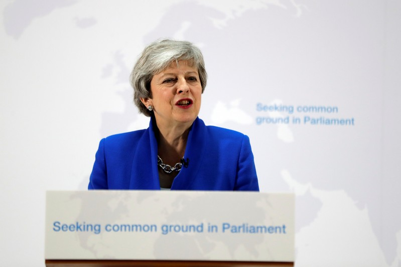 Britain's Prime Minister Theresa May delivers a speech on Brexit in London