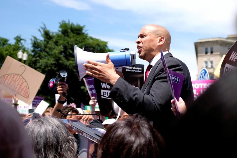 U.S. Senator Cory Booker (D-NJ) speaks at a protest against anti-abortion legislation at the U.S. Supreme Court in Washington