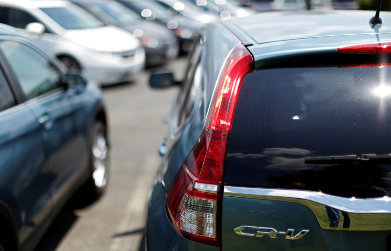 FILE PHOTO: New Honda CR-V's sit on a dealer's lot in Silver Spring