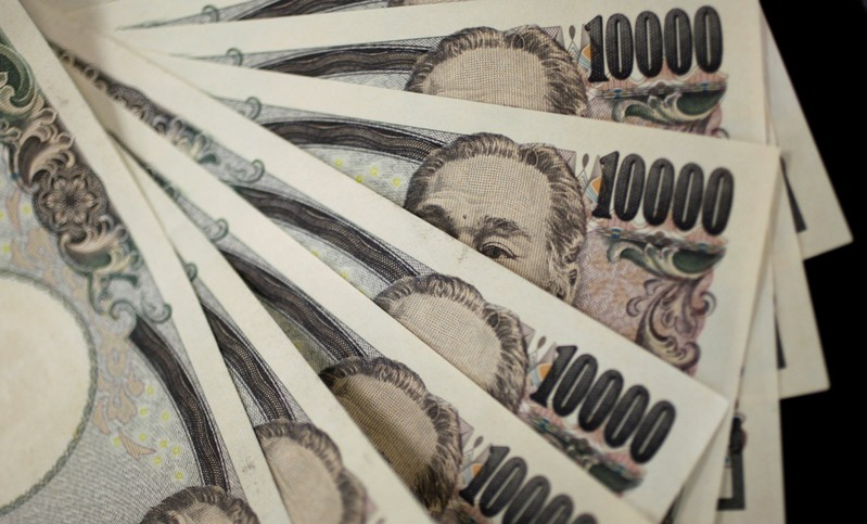 FILE PHOTO: A picture illustration shows Japanese 10,000 yen notes featuring a portrait of Yukichi Fukuzawa, the founding father of modern Japan