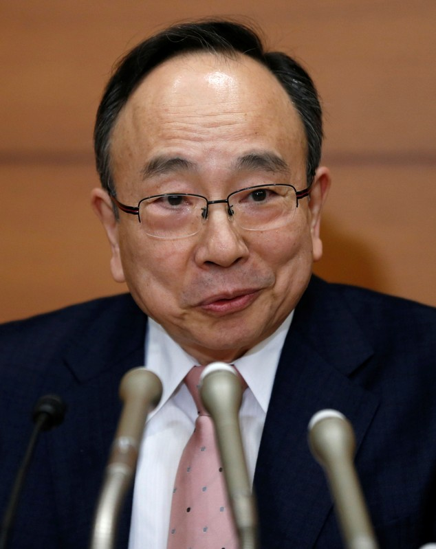 BOJ new Deputy Governor Amamiya attends his inaugural news conference at the BOJ headquarters in Tokyo