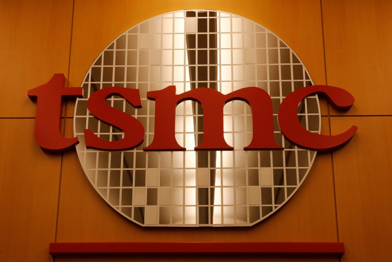 A logo of Taiwan Semiconductor Manufacturing Co (TSMC) is seen at its headquarters in Hsinchu