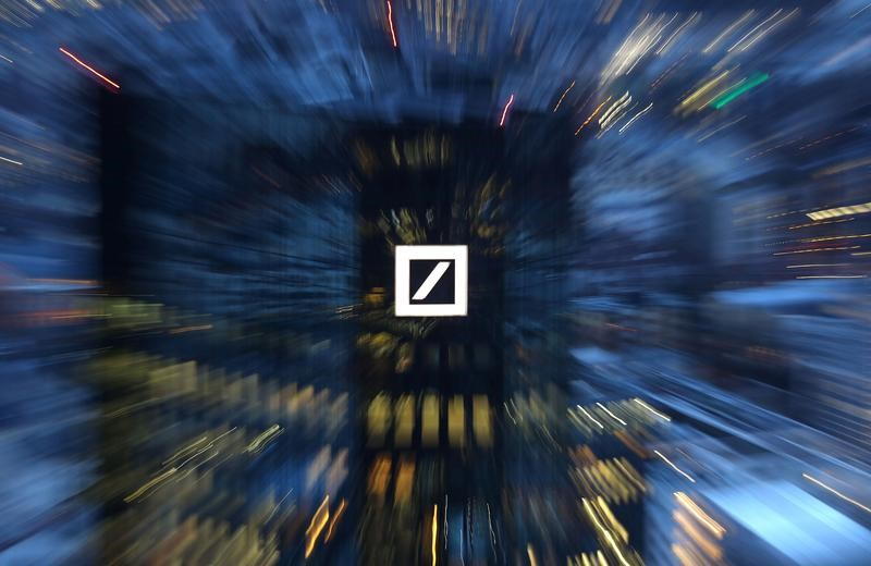 The headquarters of Germany's Deutsche Bank are photographed early evening in Frankfurt