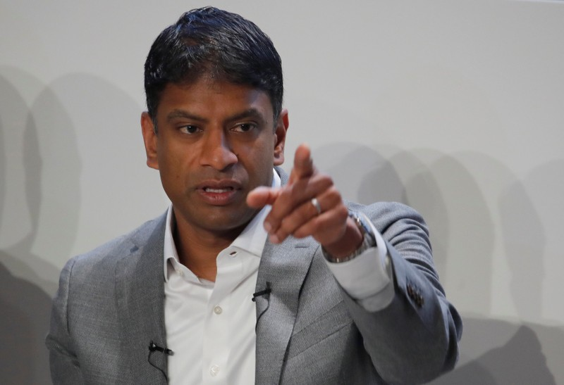 CEO Vas Narasimhan of Swiss drugmaker Novartis addresses the company's annual news conference in Basel
