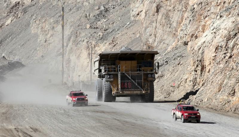 A dump truck carries copper ore out of Chuquicamata open pit copper mine