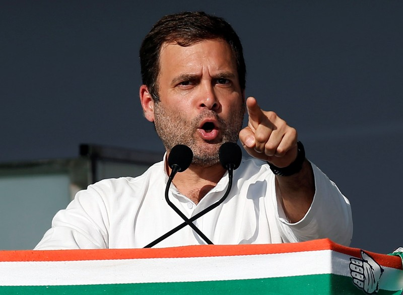 Rahul Gandhi, President of India's main opposition Congress party, addresses his party's supporters during a public meeting in Gandhinagar