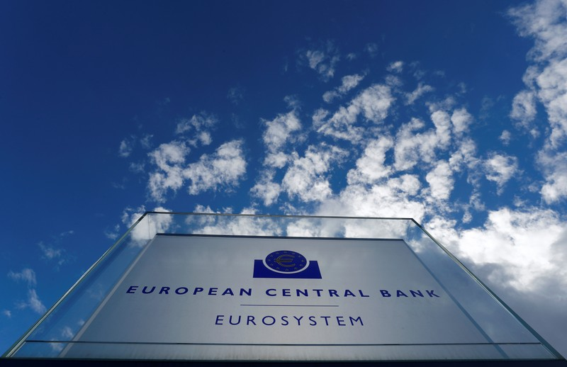 FILE PHOTO: Sign of the European central Bank (ECB) is seen outside the ECB headquarters in Frankfurt