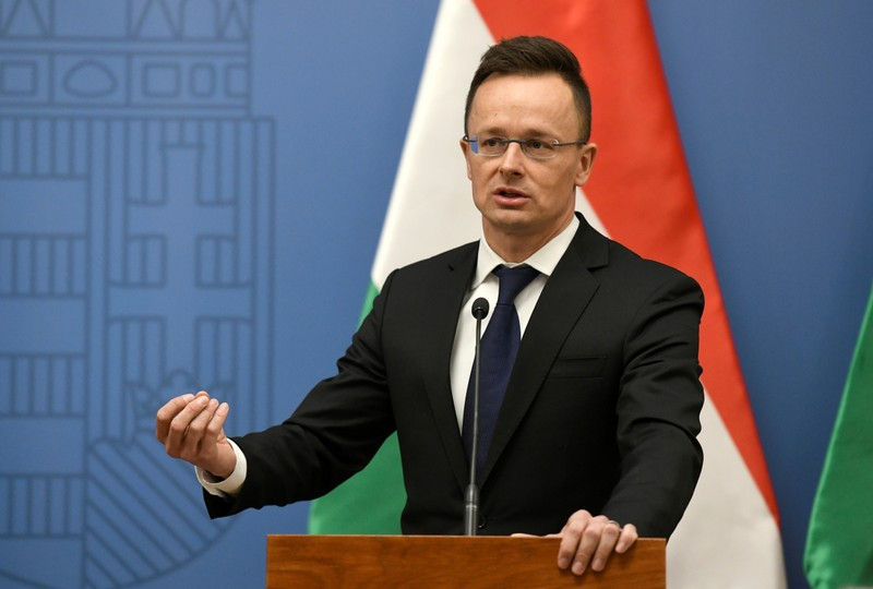 FILE PHOTO: Hungarian Foreign Minister Szijjarto attends a news conference with U.S. Secretary of State Pompeo in Budapest.