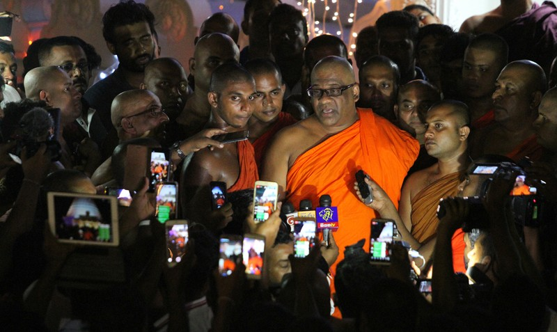 Buddhist monk Gnanasara, head of the hardline Bodu Bala Sena or