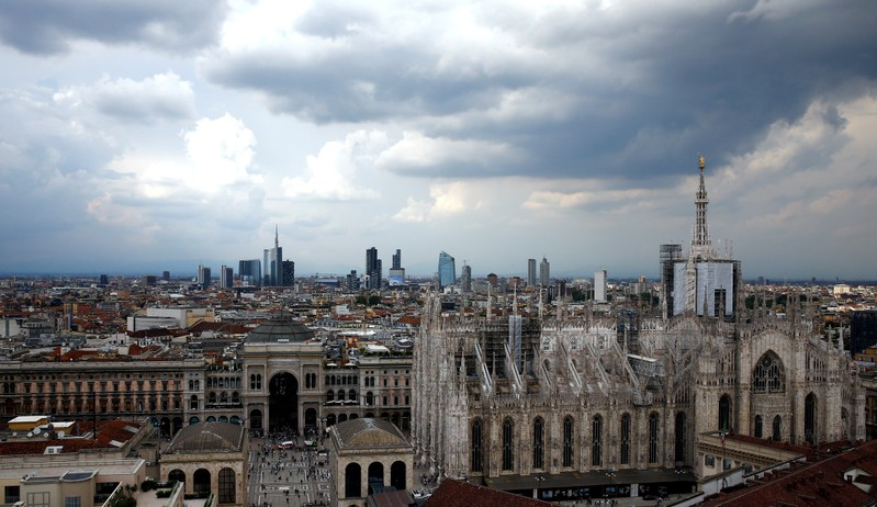 FILE PHOTO: Duomo's cathedral and Porta Nuova's financial district are seen in Milan