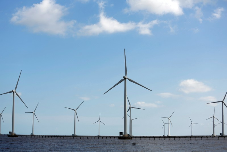 FILE PHOTO: Power-generating windmill turbines are pictured at a wind park in Bac Lieu province