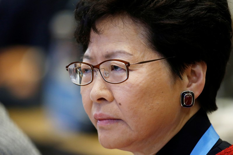 Hong Kong Chief Executive Carrie Lam attends a thematic forum of the second Belt and Road Forum for international cooperation in Beijing