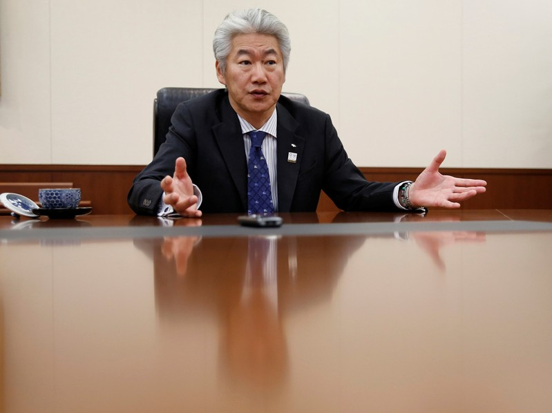 Nomura Holdings' CEO Nagai attends an interview with Reuters in Tokyo
