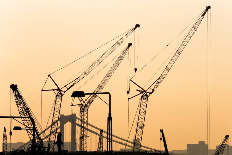 FILE PHOTO: Cranes are pictured against sunset at a construction site in Tokyo